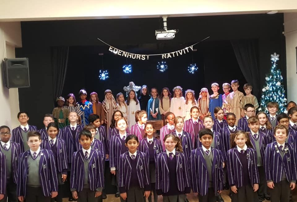 Children in front of stage for school nativity