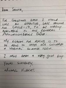 Letter written by headteacher to Santa